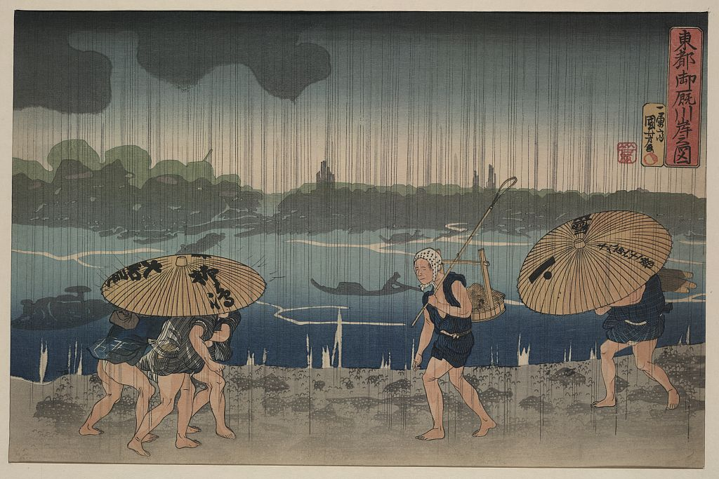 winter rain no hat Utagawa Kuniyoshi