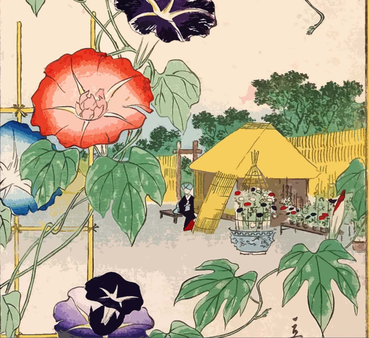 hiroshige, 1866 morning glories