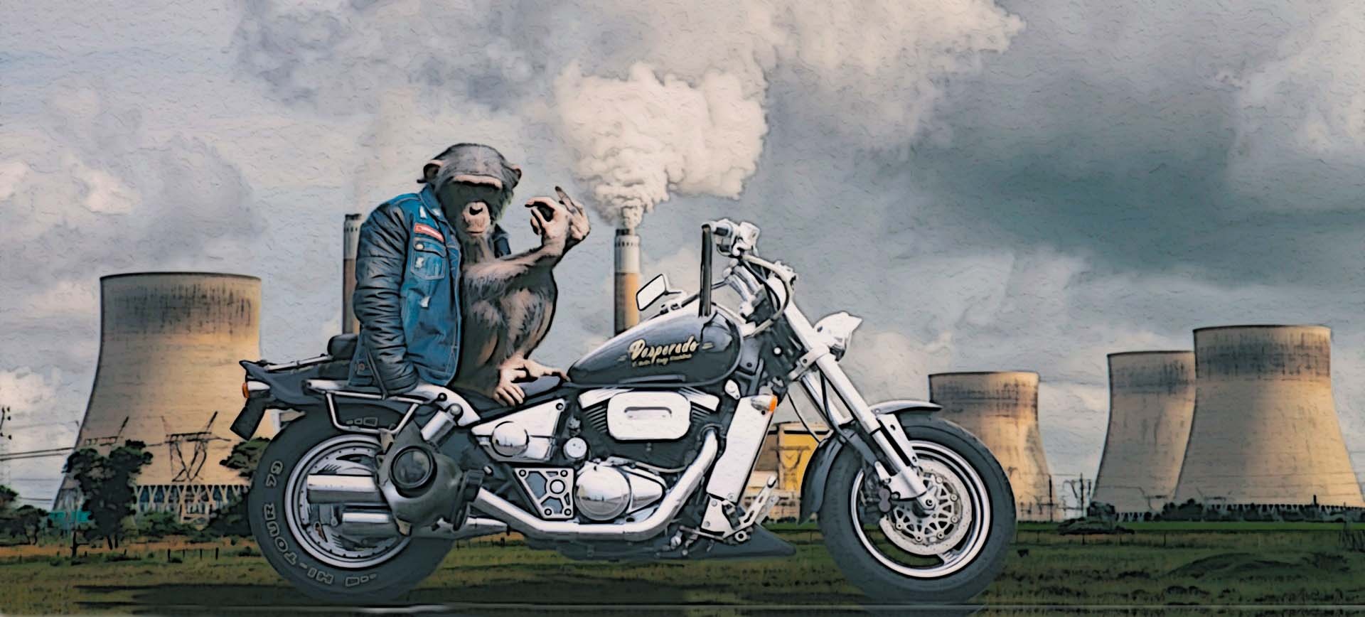 monkey on motorcycle in front of nuclear plant
